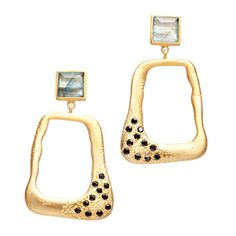 """In the mood for glamour? These ravishing gold vermeil drop, Glenda earrings feature a rutilated quartz stud and golden drop with black CZs. - Gold vermeil, rutilated quartz, black CZs - 1 3/4"""" long"""