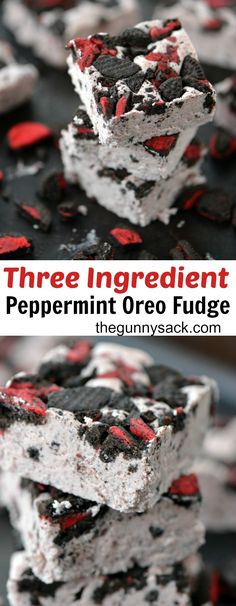 This melt-in-your-mouth, creamy Peppermint Oreo Fudge only has three ingredients! It's an easy holiday recipe to make.