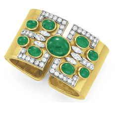 AN EMERALD, DIAMOND AND GOLD CUFF BRACELET, BY DAVID WEBB  The hinged 18k gold cuff set at the top with oval cabochon emeralds, enhanced by circular-cut diamond detail, mounted in 18k gold and platinum