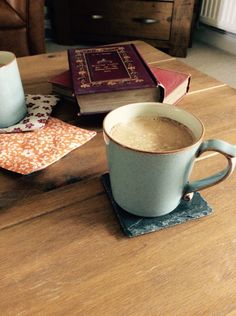 Denby mugs on coffee table