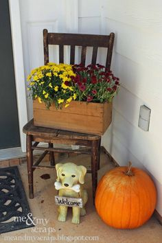 a vintage chair on the front porch adds charm and a great place to put holiday decor