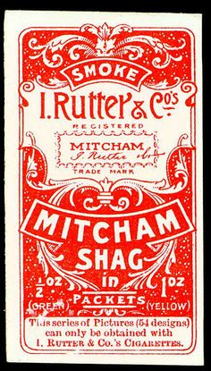 "Cigarette Card Back - Rutter's ""Mitcham Shag"" 