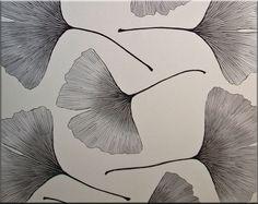 Marimekko Ginkgo fabric wall art