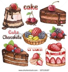 Collection of watercolor cakes