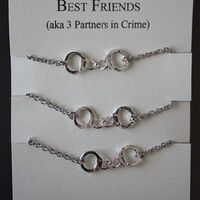 3 Partners in crime matching Best Friends Bracelets - Silver Handcuffs Bracelet, handcuffs charm bracelet, bracelet handchain BFF jewelry Bracelets Bff, Best Friend Bracelets, Bff Necklaces, Best Friend Jewelry, Silver Bracelets, Silver Rings, Bangle Bracelet, Bff Gifts, Best Friend Gifts