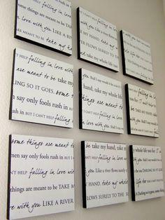 quadros com letras de música, poema, ...