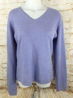 Women's Charter Club Luxury Cashmere Sweater Size Large L Violet Purple V Neck #CharterClub #VNeck