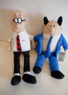 DILBERT-Comic-Strip-Plush-Doll-Collectible-Set-with-The-Boss-PHB-New-Toy-Factory