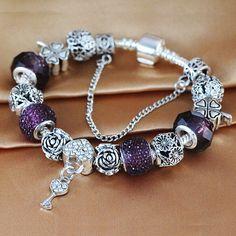 Fashion Women's Jewelry Antique Silver Charm Bracelet fit Brand Bracelet Femme With Heart Key Pendant for girls Love Gift