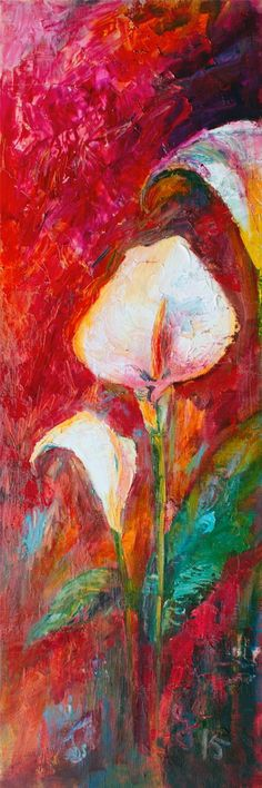 #Calla #Lilies Large Impressionist Floral Painting Palette Knife , Original Painting - The Art of Ginette Callaway, The Art of Ginette Callaway  - 1