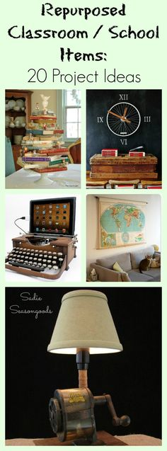 Rulers and Globes and Typewriters- oh my! Who doesn't love to repurpose / upcycle and decorate with vintage school and classroom items? Here are 20 fun DIY ideas everything from projectors to pencil sharpeners. #SadieSeasongoods