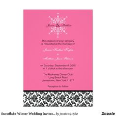 Snowflake Winter Wedding Invitation Damask Modern