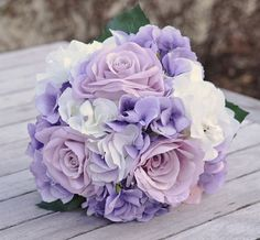 Silk Wedding Flower Bouquet made with Lavender Roses, Lavender Hydrangea and Ivory Hydrangea wrapped in Champagne Ribbon.