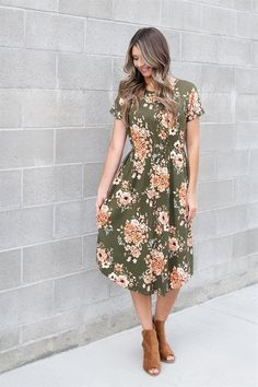 Olive Fall Floral Dress