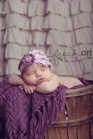 Newborn photo ideas- love the purple blanket and ruffle curtain background
