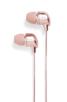 Can't get over these rose gold earbuds that combine standout style with superior sound. Three sets of flexible ear tips help make it easy to find the perfect fit, while a built-in one-button mic and remote allow for ease of changing the song. Best In Ear Headphones, Music Headphones, Wireless Headphones, Pink Headphones, Pink And Gold, Rose Gold, Copper Rose, Tech Accessories, Plugs