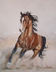 Galloping horse original oil painting on canvas by AndromedaUK