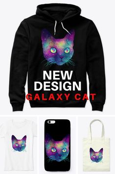 Click and find more products with this design. I just love it- Galaxy Cat, Cat Design, Hoodies, Sweatshirts, News Design, Just Love, Graphic Sweatshirt, Cats, Sweaters