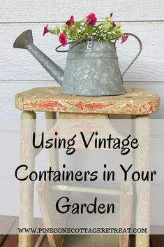 There are so many choices of what you can use to plant your spring and summer flowers in. Vintage containers can be used to make unique displays in your garden. Vintage Garden Decor, Vintage Gardening, Organic Gardening, Gardening Blogs, Flea Market Gardening, Gardening Courses, Gardening Quotes, Gardening Supplies, Indoor Gardening