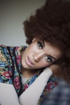 Love her freckles and afro Black Power, Big Hair, Your Hair, Divas, Curly Hair Styles, Natural Hair Styles, Vida Natural, Natural Beauty, My Black Is Beautiful