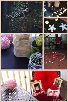 DIY proposal event. Helped my brother prep. White flowers are actually scented soap-dipped petals used in the floor tealight circle, then quickly repositioned as table decor for the candlelight dinner. The curtain christmas lights my brother wanted were out of stock, but gold mesh ribbon worked just as well for a shimmer backdrop. Glitter painted star garlands. Frames, letters, mini birdcage for the ring, flowerball (Martha Stewart punch, styrofoam ball, and pearlized pins). All from…