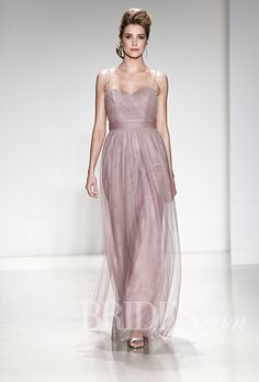 Brides.com: . Style 8617L, tulle A-line bridesmaid dress with a sweetheart neckline and pearl beaded garland straps, Alfred Angelo