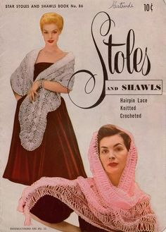 Star Book 86 Stoles Shawls Knitting Crochet Hairpin Lace Patterns Shrug 1951 #AmericanThreadCompany