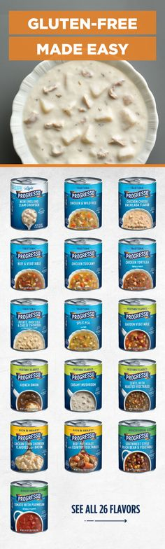 Progresso helps make eating gluten-free easy and delicious! Check out our variety of gluten-free soup flavors. Gluten Free Soup, Dairy Free Recipes, Great Recipes, Favorite Recipes, Delicious Recipes, Healthy Eating Recipes, Healthy Breakfast Recipes, Eat Healthy, Whole 30 Dessert