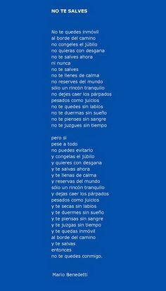No te salves - Mario Benedetti mi poema favorito!