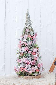 Купить Шебби Ель - бледно-розовый, Новый Год, елка, настольная елка, подарок, Праздник