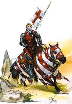 """Caballero cruzado de Luis IX, séptima cruzada, siglo XIII"""