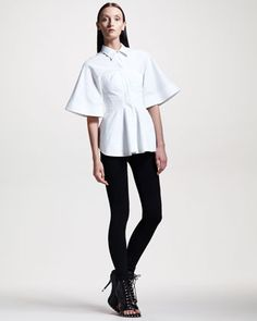 Poplin Corset Blouse & Jersey Leggings by Givenchy at Bergdorf Goodman.
