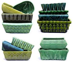 Green pottery planters. Best ones are made by McCoy or Brush pottery. Easy to find, and inexpensive to collect.