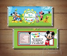ANY AGE Printable Mickey Mouse Birthday Candy Bar Wrapper, Red Blue Mickey Mouse Candy Bar Wrapper, Mickey Mouse Birthday Party Printables by ThePrintableOccasion on Etsy https://www.etsy.com/listing/179954780/any-age-printable-mickey-mouse-birthday