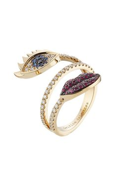18kt White Gold Ring with Diamonds, Rubies and Sapphires | Delfina Delettrez