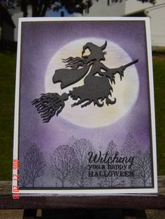 handmade Halloweeen card: ~ Donna CASE by Redbugdriver - at Splitcoaststampers . die cut witch on a broom focal point . purple sponged skiy with huge masked off moon . trees from Lovely as a Tree look like they're in the fog . Halloween Paper Crafts, Halloween Projects, Halloween Cards, Holidays Halloween, Halloween Themes, Halloween Fun, Halloween Decorations, Halloween Witches, Fall Cards
