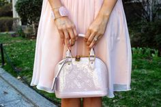 Domesticated Me: Evening Blush Outfit of the Night featuring this gorgeous Louis Vuitton Alma BB Vernis in Rose Angelique. Details at DomesticatedMe.com pink purse bag LV lvoe ootd fashion style