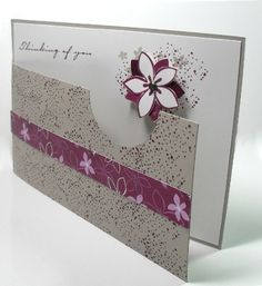 card by Debbie Hand... love the cut-away front with the flower peeking through