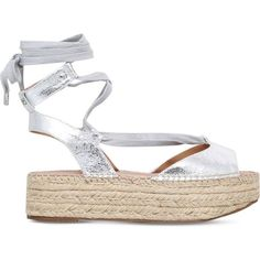 KG KURT GEIGER Marlo metallic flatform sandals found on Polyvore featuring shoes, sandals, silver, strap sandals, silver shoes, silver platform sandals, metallic strappy sandals and platform shoes