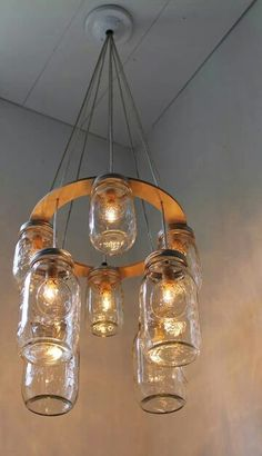Double Decker MASON JAR Chandelier – Upcycled Hanging Mason Jar Lighting Fixture – BootsNGus Lamps Modern Country Rustic Home Decor - All About Decoration Mason Jar Chandelier, Mason Jar Lighting, Kitchen Lighting, Beer Bottle Chandelier, Mason Jar Light Fixture, Rustic Lighting, Chandelier Lighting, Lighting Ideas, Diy Luminaire