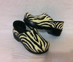 $59.99  Dansko Professional Zebra Animal Print Leather Clogs 37 womens