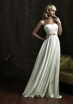 Strapless Satin Ribbon A-line Long Wedding Dress picture 1