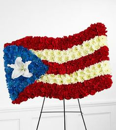 Parker's Flowers & Gifts Sympathy Port Charlotte, FL, 33948 FTD Florist Flower and Gift Delivery Funeral Bouquet, Funeral Flowers, Funeral Arrangements, Flower Arrangements, Puerto Rican Flag, Red Carnation, Oriental Lily, Chrysanthemum Flower, Sympathy Flowers