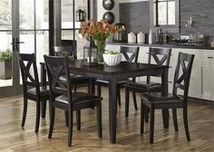 Thornton II Collection 464-CD-7RLS 7-Piece Dining Room Set with Rectangular Dining Table and 6 Side Chairs in Black Finish with Brown Top