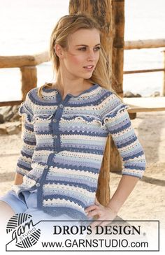 """Crochet DROPS jacket with stripes and lace pattern in """"Safran"""". Size XS - XXL. ~ DROPS Design"""