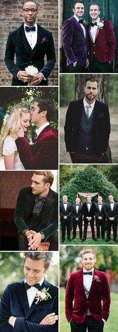 This winters hottest groom-style trend: The Velvet Blazer