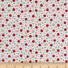 Penny Rose Apple Farm Fresh White from @fabricdotcom  Designed by Elea Lutz for Penny Rose Fabrics, this 30's reproduction print fabric is perfect for quilting, apparel, and home decor accents. Colors include white, pink, green, taupe, and red.