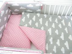 Ochraniacz łóżeczka różowo-szary groszki chmurki pokoik dziecka