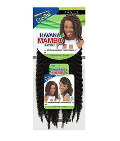 "Janet Collection Synthetic Hair Braids Havana Medium Mambo Twist Braid 12"" Crochet Braid Type : Bold TwistedThickness : 1""Strand Number : 2Strands100% Kanekalo"