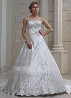 Ball-Gown Sweetheart Royal Train Satin Wedding Dress With Embroidered Beading (002004478) - JJsHouse